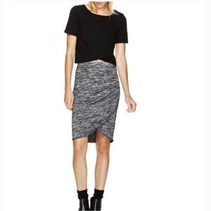 WILFRED FREE Grey Marl Fitted Rouched Skirt XS